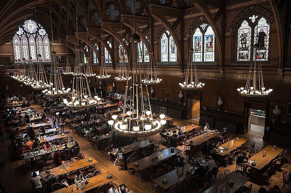 A sala de estudo da Universidade de Harvard (Foto: Reprodução/Twitter/@Harvard )
