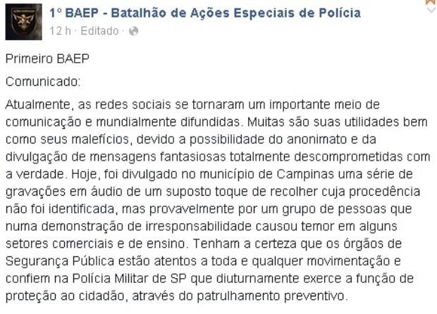 Boato de toque de recolher assusta Campinas e região (Foto: Reprodução/Facebook)