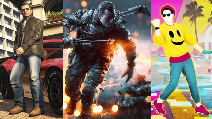 GTA, Battlefield e Just Dance estão nas promoções (Foto: Reprodução/Felipe Vinha)