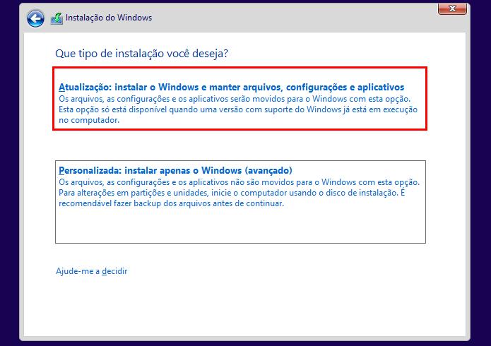 Selecionando a opção Atualizar no instalador do Windows 10 (Foto: Reprodução/Helito Bijora)