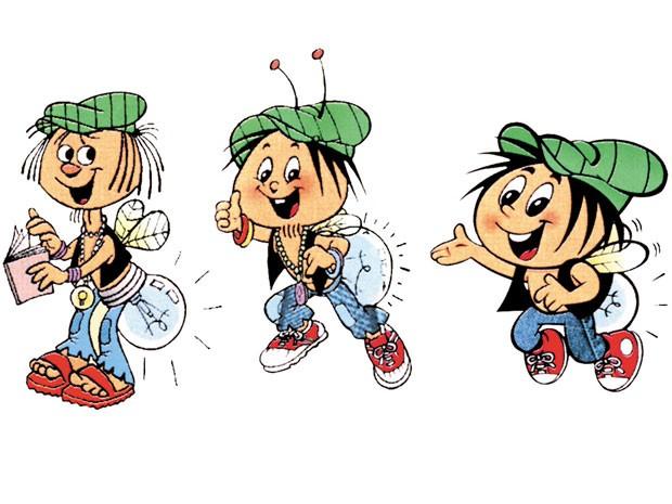 A evolução do Luminoso, mascote da Série Vaga-Lume, que nasceu em 1972 com estilo hippie (Foto: Somos Educação/Divulgação)