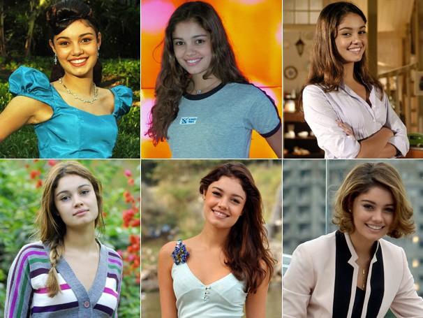 A evolução dos cabelos de Sophie Charlotte: em 2006, como Cinderela, no Sítio do Picapau Amarelo; em 2008, como Angelina, em Malhação; em 2009, como Vanessa, de Caras & Bocas; em 2011, como Stéfany, de Ti-ti-ti; em 2012, como Amália, de Fina Estampa, e neste ano, como Amora, em Sangue Bom (Foto: Rede Globo)