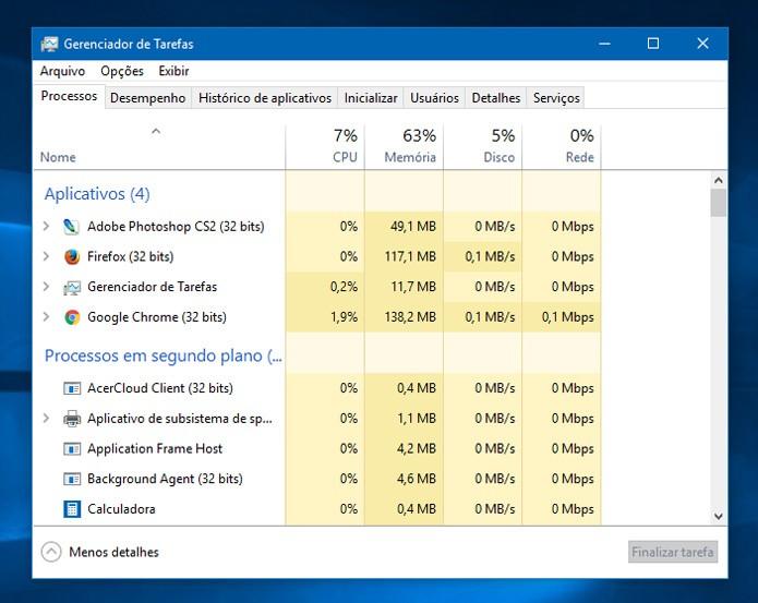 O Gerenciador de tarefas do Windows ajuda a verificar como anda consumo de memória do seu PC (Foto: Reprodução)