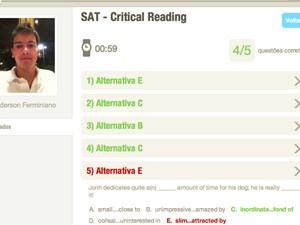 Simulado no site 'Estudar nos EUA' (Foto: Reprodução)