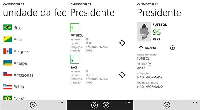 Candidaturas é um aplicativo onde usuários podem ter informações das Eleições 2014 (Foto: Divulgação/Windows Phone Store)