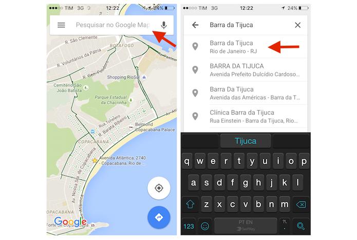 Pesquisando um local no Google Maps para iPhone (Foto: Reprodução/Marvin Costa)