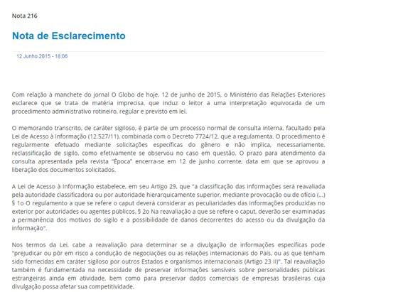 Nota divulgada pela Itamaraty, em 12 de junho, sobre reclassificação de documentos sigilosos (Foto: Reprodução)