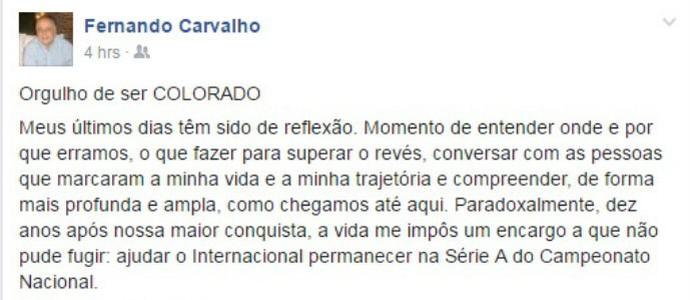 Fernando Carvalho desabafa no Facebook (Foto: Reprodução )