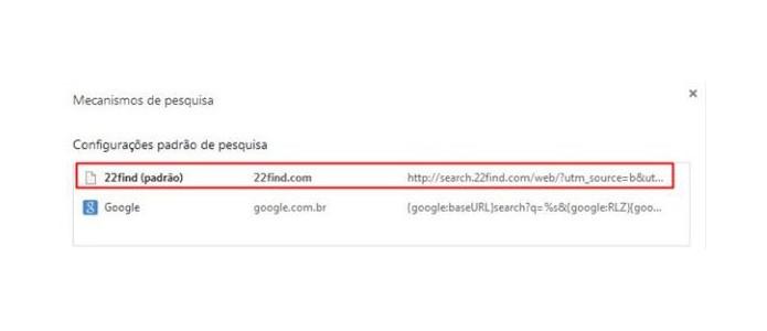 Exclua o motor de busca do 22find do Chrome (Foto: Reprodução/Paulo Alves)