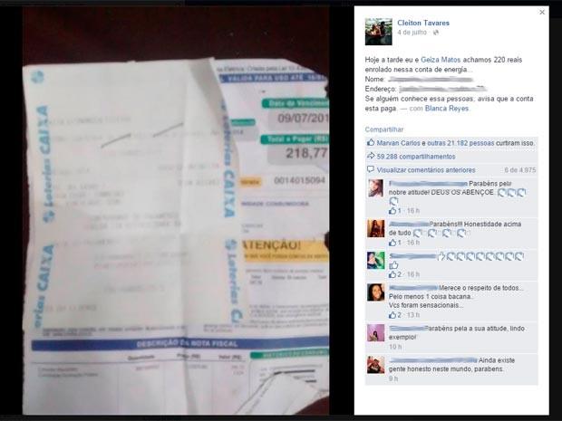 Cleiton postou ação em rede social para encontrar dona da conta (Foto: Reprodução/Facebook)