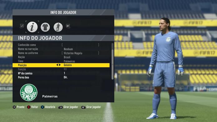 Modo de edição mostra jogadores genéricos de Fifa 17 (Foto: Reprodução/Murilo Molina)