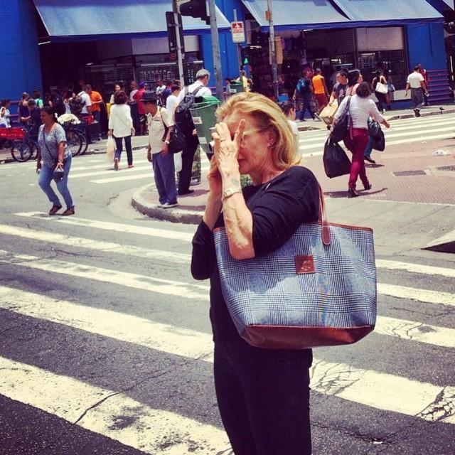 Jessica Lange no Centro de São Paulo (Foto: Reprodução/Instagram)