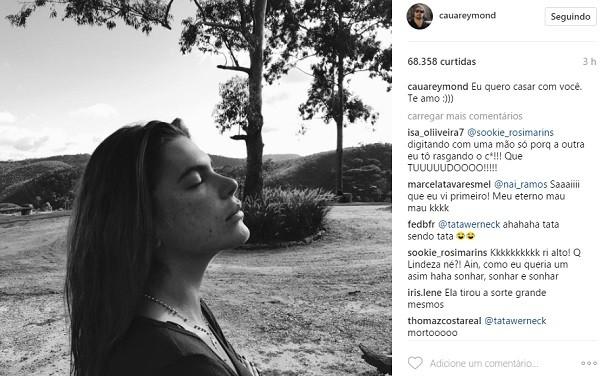 O post de Cauã neste sábado (20), no Instagram, para a amada, Mariana Goldfarb (Foto: Reprodução/ Instagram)