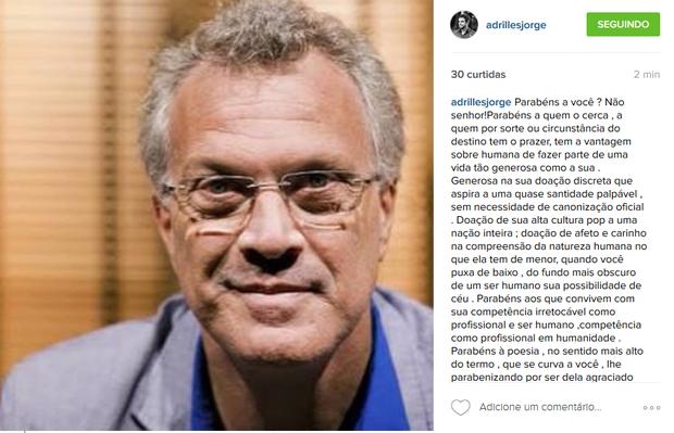 Adrilles homenageia Pedro Bial (Foto: Reprodução/Instagram)