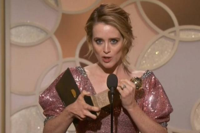 Claire Foy, de 'The crown', no Globo de Ouro (Foto: Reprodução/Twitter)