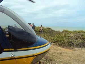 Helicóptero da PRF foi usado nas buscas (Foto: Divulgação/PRF)