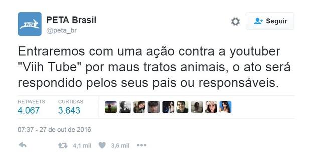 PETA Brasil critica atitude da blogueira Viih Tube (Foto: Reprodução/Twitter)