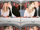 Flávia Alessandra posta foto aos beijos com o marido em festa da filha