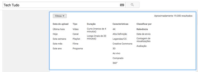 Filtros de pesquisa do YouTube (Foto: Reprodução/André Sugai)