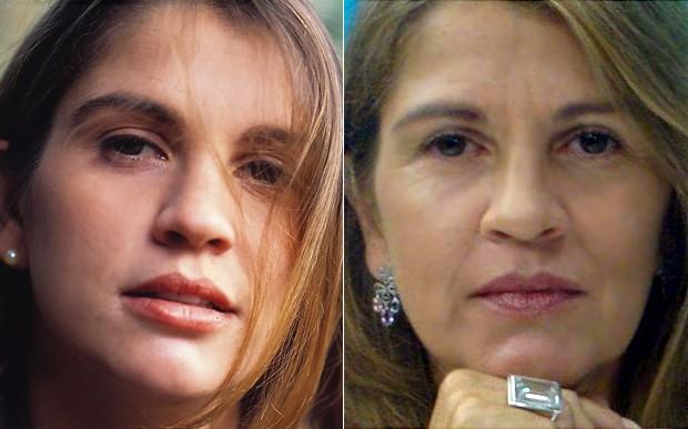 Tássia Camargo na época de Despedida de Solteiro e agora (Foto: Cedoc / Arquivo Pessoal)