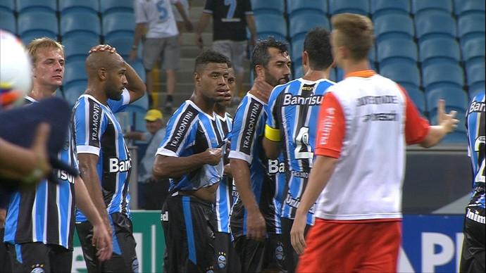 Rhodolfo e Douglas briga Grêmio Juventude Arena Gauchão 2015 (Foto: Reprodução/RBS TV)