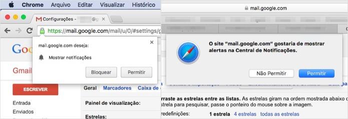 Autorizando notificações do Gmail no Safari ou Chrome (Foto: Reprodução/Helito Bijora)