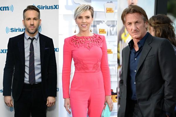 Ryan Reynolds, Scarlett Johansson e Sean Penn (Foto: Getty Images)