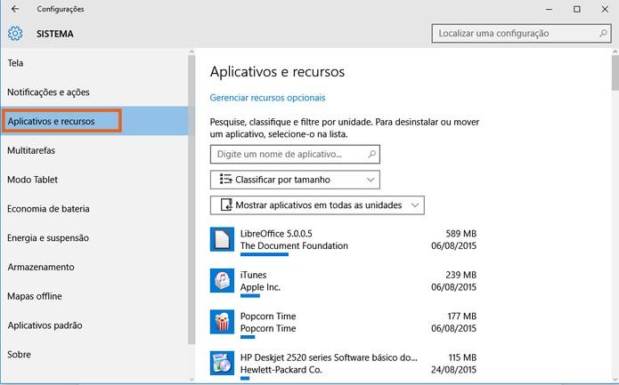 Acesse a lista de aplicativos e recursos no Windows 10 (Foto: Reprodução/Barbara Mannara)