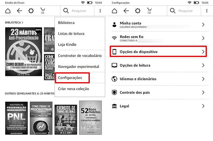 Acesse as configurações do Kindle para remover as propagandas da tela inicial (Foto: Reprodução/Elson de Souza)