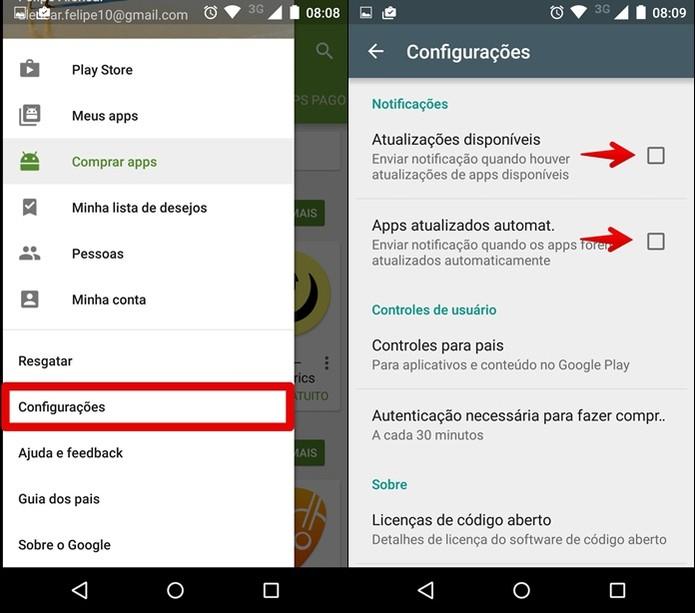Acesse as Configurações da Play Store (Foto: Felipe Alencar/TechTudo)