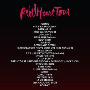 Set list de da turnê Rebel heart, de Madonna (Foto: Instagram/ Reprodução)