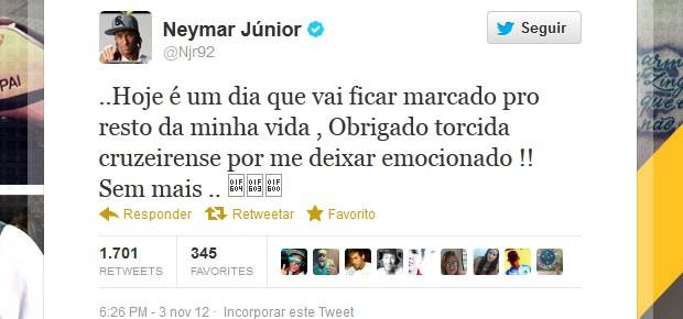 Neymar agradece a torcida do Cruzeiro no Twitter (Foto: Reprodução/Twitter)