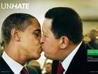 Campanha polemiza com 'beijos' entre líderes políticos e religiosos