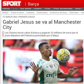 """""""Sport"""" crava ida de Gabriel Jesus para Manchester City (Foto: Reprodução SporTV)"""