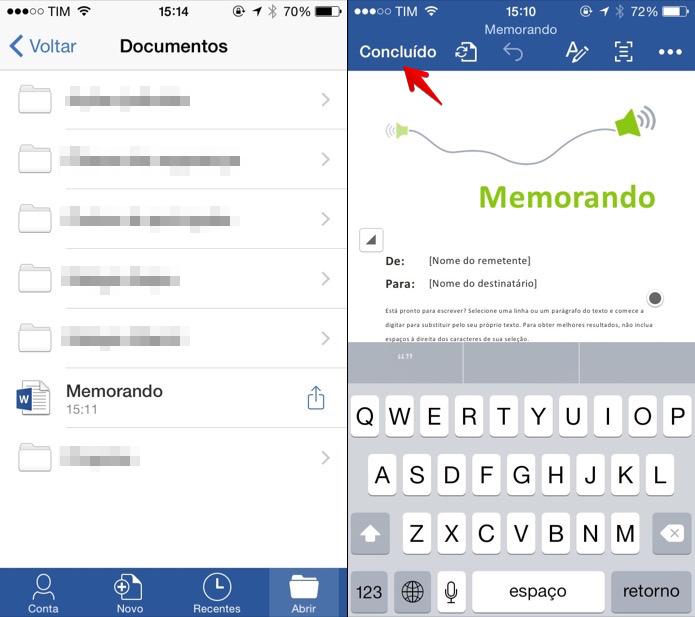Editando documento salvo no Dropbox no aplicativo do Office (Foto: Reprodução/Helito Bijora)