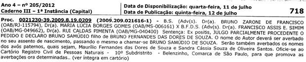 Imagem de publicação oficial do Tribunal de Justiça do Rio de Janeiro reconhecendo a paternidade do filho de Eliza Samudio por Bruno Fernandes (Foto: Reprodução / Tribunal de Justiça do Rio de Janeiro)