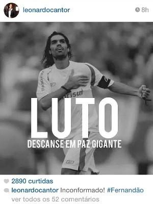 Cantor Leonardo faz homenagem a ídolo do Goiás, o ex-jogador Fernandão (Foto: Reprodução/Instagram)