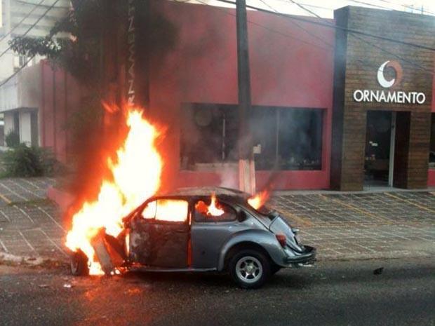 Veículo bateu em poste, pegou fogo e motorista morreu carbonizado (Foto: Julio Costa)
