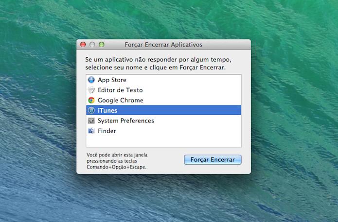 Ferramenta permite encerrar aplicativos que estão não estão respondendo aos comandos no Mac OS X (Foto: Reprodução/Marvin Costa)