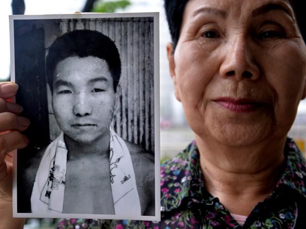 Irmã do boxeador Iwao Hakamada, o condenado à morte mais velho do mundo. (Foto: Kazuhiro Nogi/AFP)