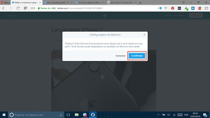 Confirme o aviso de privacidade do Twitter para prosseguir com publicação do Moment (Foto: Reprodução/Elson de Souza)