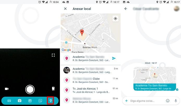 Google Allo permite enviar localização do usuário ou lugares próximos (Foto: Reprodução/Elson de Souza)