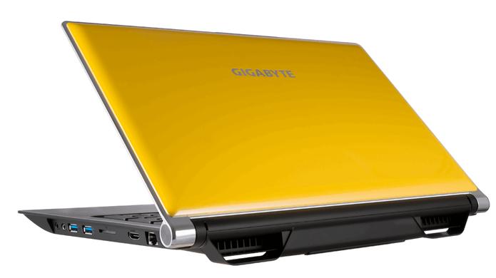 Amarelo, o modelo vem com armazenamento SSD e HD (Foto: Divulgação/Gigabyte)