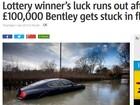Ganhador britânico de loteria perde carro de R$ 330 mil em enchente