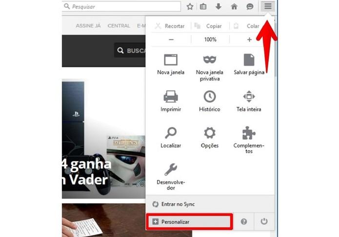 Acesse o menu Personalizar do Firefox (Foto: Felipe Alencar/TechTudo)