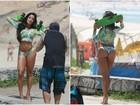 Aline Riscado exibe curvas em sessão de fotos em praia no Rio
