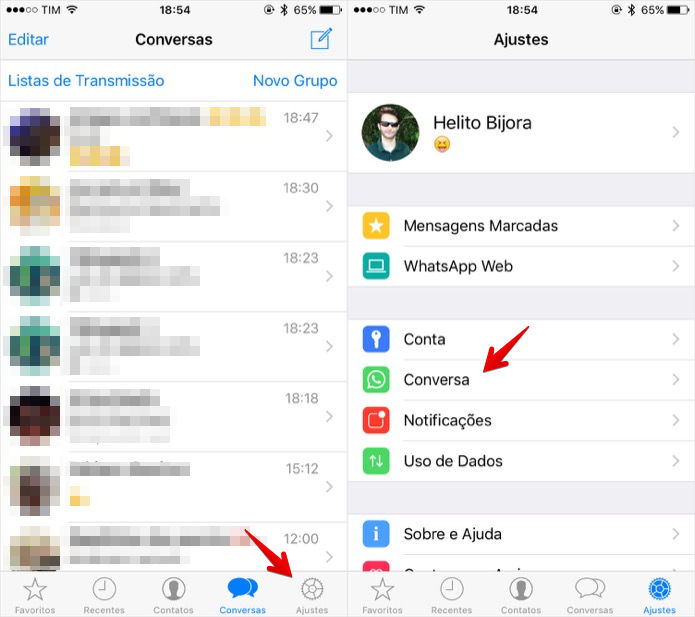 Acesse as configurações de conversa do WhatsApp (Foto: Reprodução/Helito Bijora)