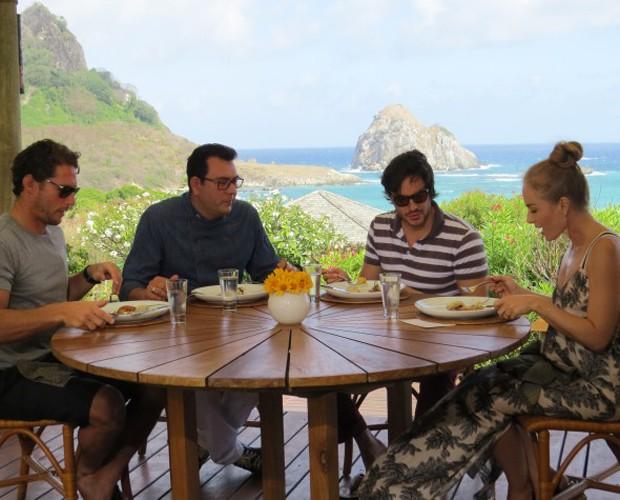Convidados do Estrelas almoçam prato preparado pelo chef Daniel Redondo (Foto: Divulgação Ana Clara Marinho / TV Globo)