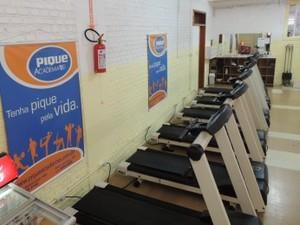 Matriz da academia que deixou a rua funciona dentro do clube Socepe, no Centro de Santa Maria (Foto: Felipe Truda/G1)