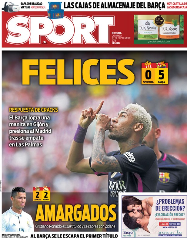 BLOG: Após goleada do Barça e empate do Real, jornal catalão provoca time de Madrid